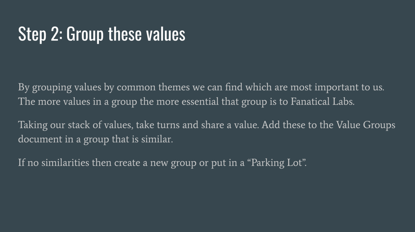 Step2 Group These Values