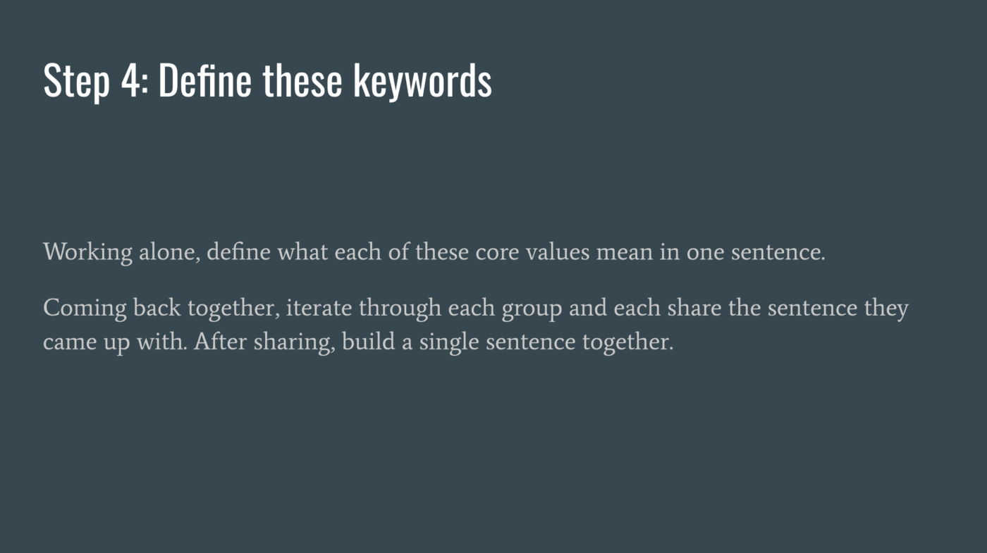 Step4 Define These Keywords
