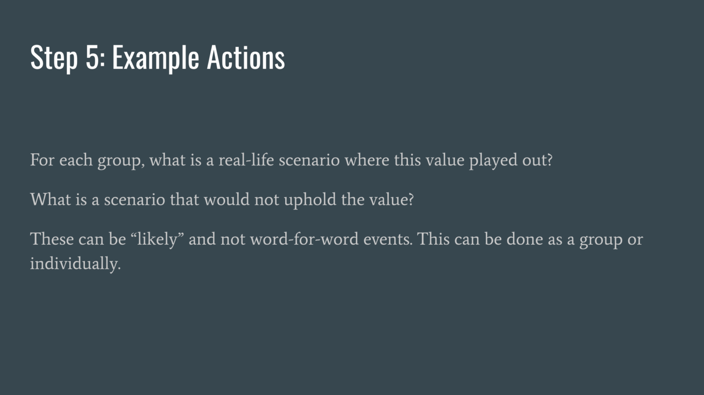 Step5 Example Actions