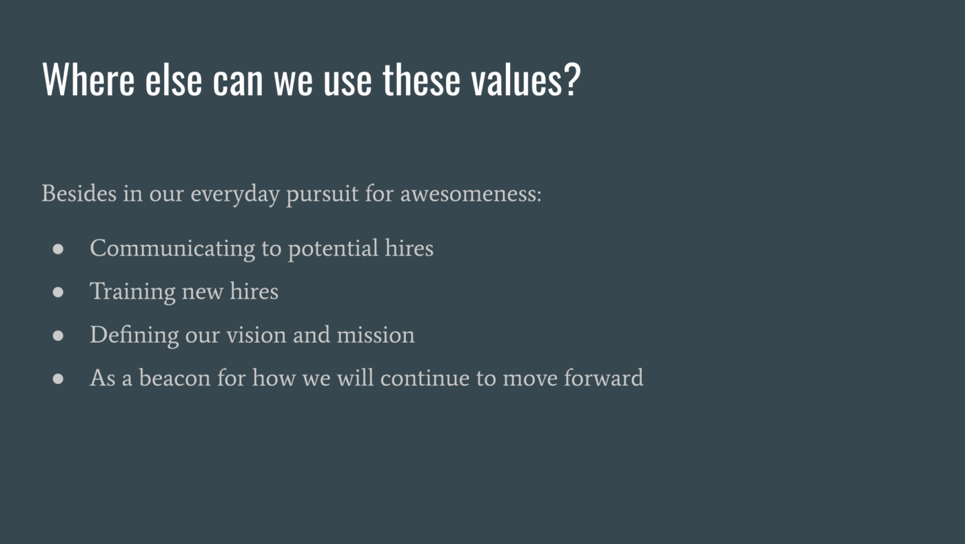 Where Can We Use Our Values 3